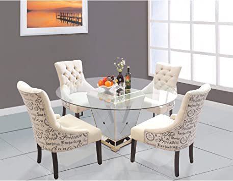 Amazon Com Best Master Furniture Yj001 Wood And Glass 60 Inch Round Dining Table Bronze Tables
