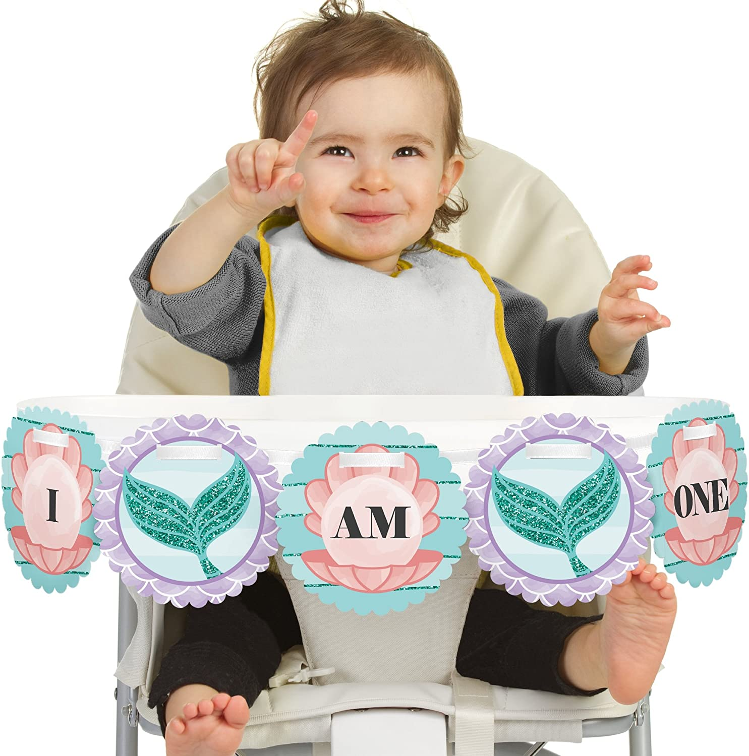 Big Dot of Happiness Let's Be Mermaids 1rst Birthday Highchair Decor - I Am One - First Birthday High Chair Banner