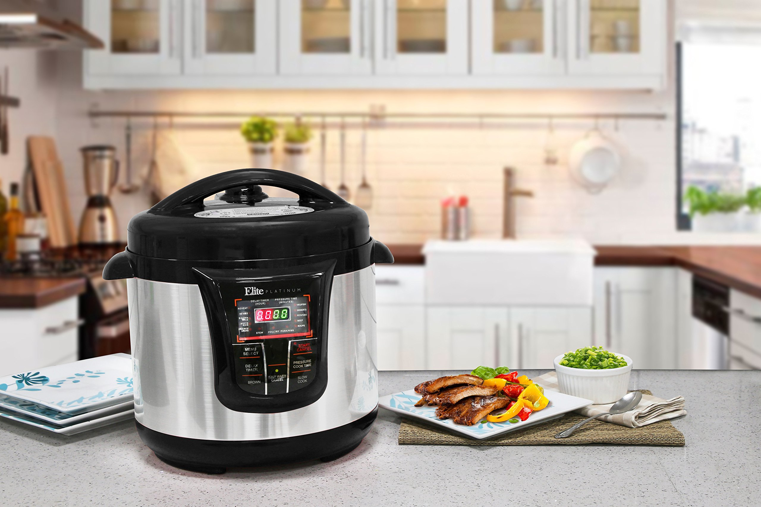 Elite Platinum 8 Quart 14-in-1 Multi-Use Programmable Pressure Cooker, Slow Cooker, Rice Cooker, Sauté, and Warmer - Black by Maxi-Matic (Image #8)