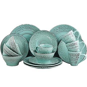 Elama Malibu Wave Embossed Stoneware Ocean Ocean Dinnerware Set