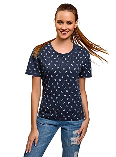 oodji Ultra Mujer Camiseta con Estampado Marinero
