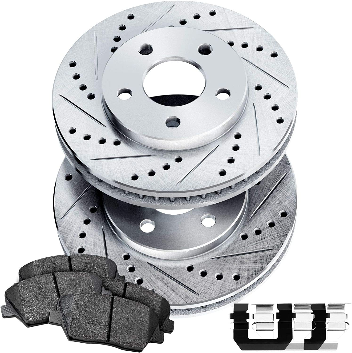 Power Sport Cross Drilled Brake Rotors and Ceramic Brake Pads Kit 80792 Front /& Rear