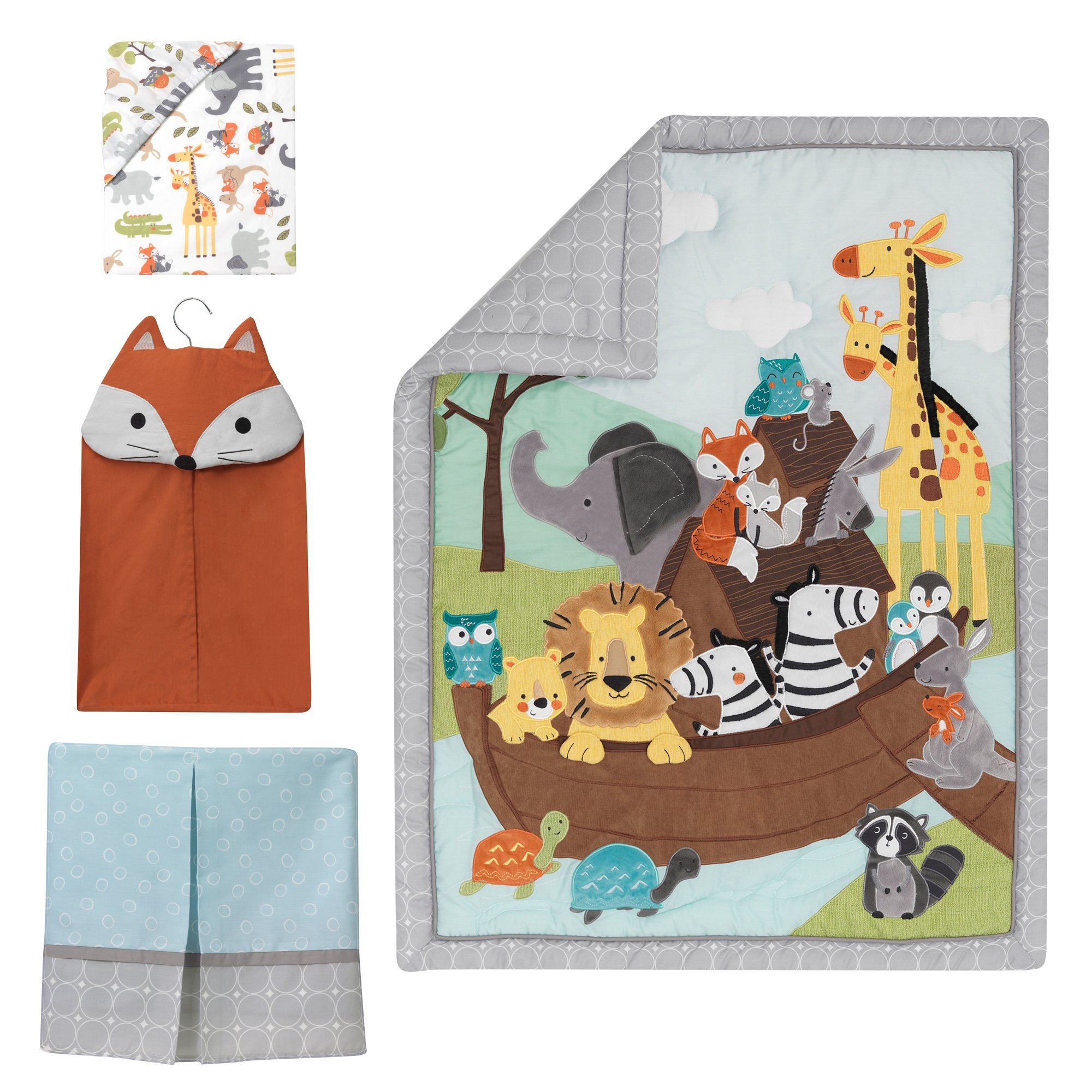 Lambs & Ivy Two of A Kind Noah'S Ark Animals 4 Piece Crib Bedding Set, Blue/Gray by Lambs & Ivy (Image #2)