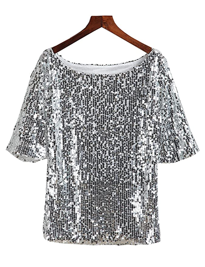 462e6c91 TR Womens Sequins T Shirts Sparkle Glitter Tank Dancing Tops at Amazon  Women's Clothing store: