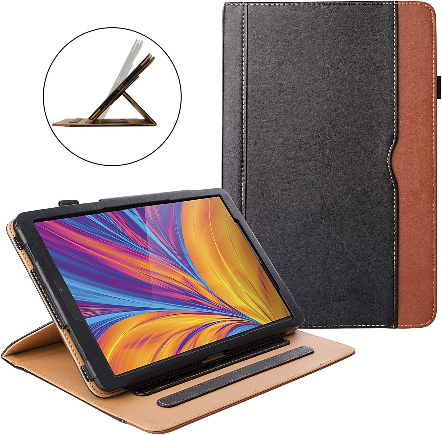 ZoneFoker Galaxy Tab A 10.1 inch 2019 Tablet Leather Case, 360 Protection Multi-Angle Viewing Folio Stand Cases with Pencil Holder for Samsung Galaxy Tab A 10.1 SM-T510/SM-T515 - Black/Brown