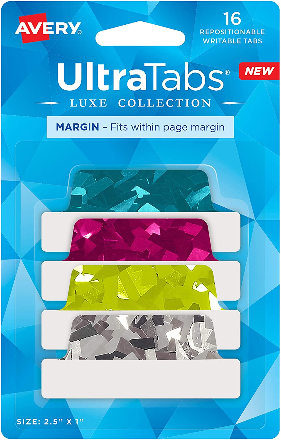 """Avery Margin Ultra Tabs, 2.5"""" x 1"""", Holographic Jewel Tone Colors, 16 Repositionable Page Tabs (74147)"""