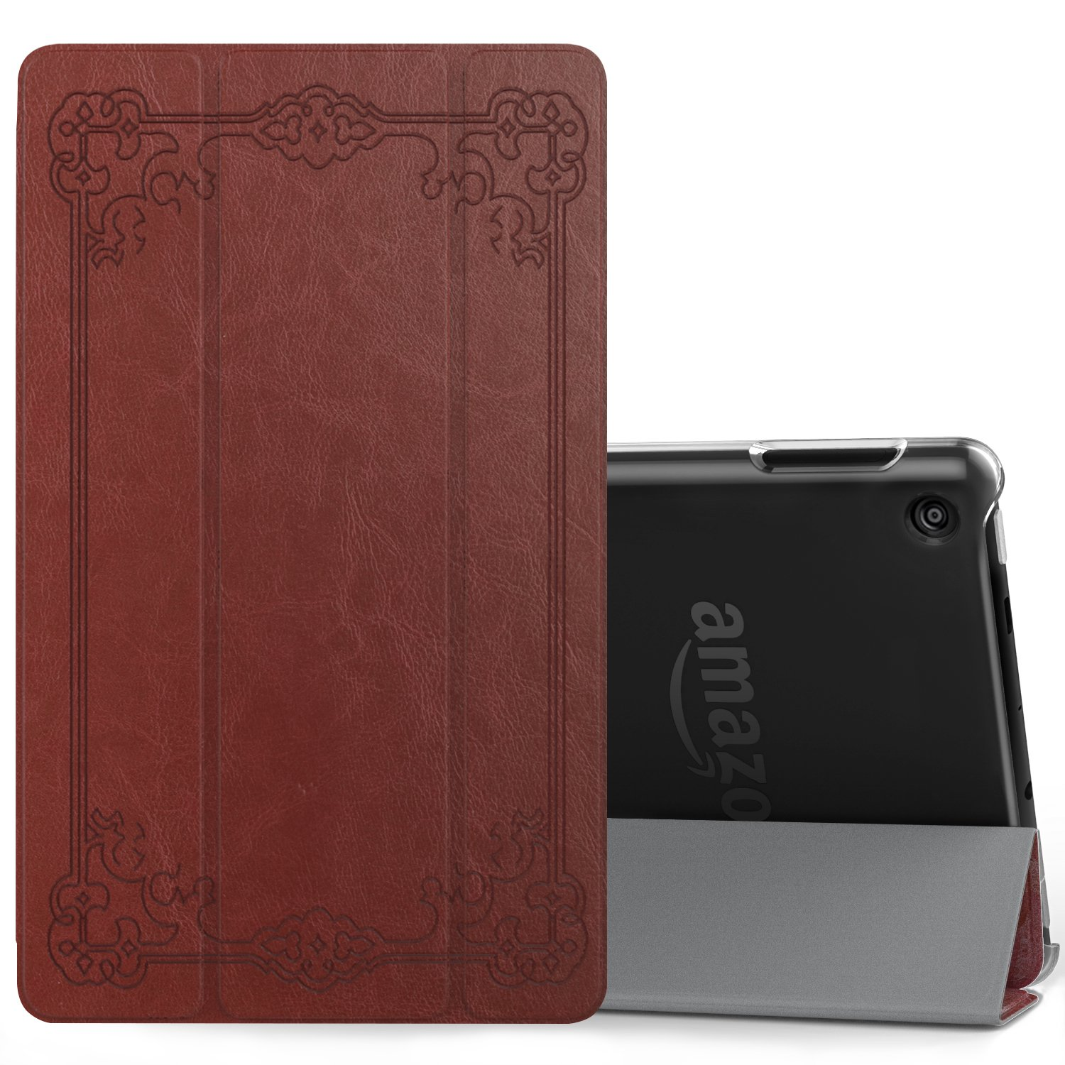 MoKo Case for All-New Amazon Fire 7 Tablet (7th Generation, 2017 Release Only) - Ultra Lightweight Slim Shell Stand Cover with Translucent Frosted Back for Fire 7, Vintage Style (with Auto Wake/Sleep)