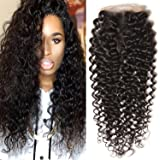 "Unice Hair 4""x4"" Free Part Lace Closure Brazilian Curly Virgin Human Hair Lace Closure Natural Black"