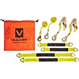 Vulcan Classic Yellow Axle Tie Down System With Two Ratchet Straps And Four Axle Straps