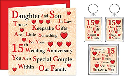 Daughter Son In Law 15th Wedding Anniversary Gift Set Card 2 Keyrings Fridge Magnet