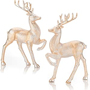 iPEGTOP 2 Pcs Holiday Reindeer Decor Christmas Standing Deer Figurines Home Office Decor Statues, Champagne Silver