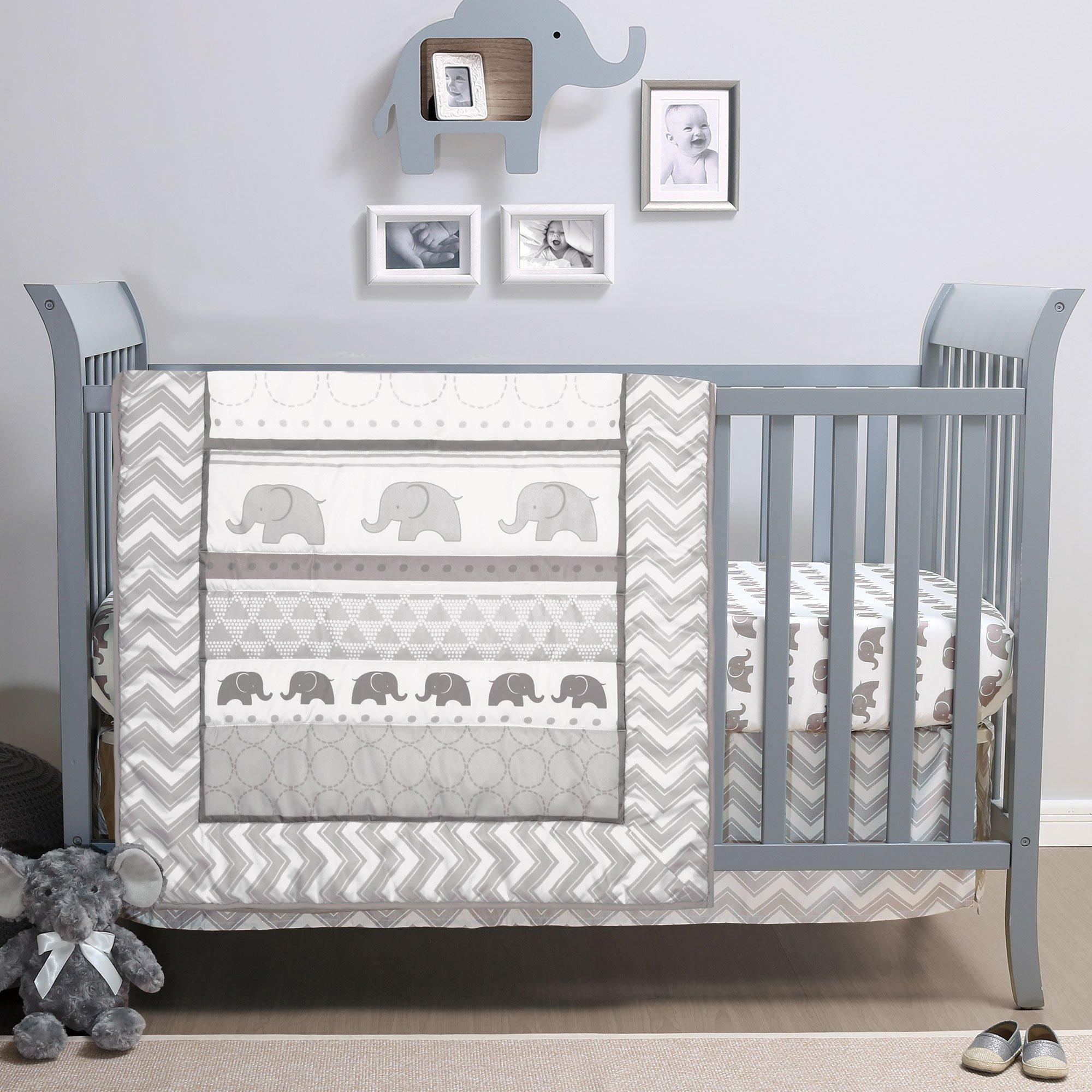 Elephant Walk 4-Piece Jungle Geometric Chevron Grey Baby Crib Bedding Set by Belle by Belle