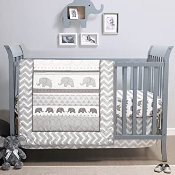 Elephant Walk 4 Piece Jungle Geometric Chevron Grey Crib Bedding Set By Belle