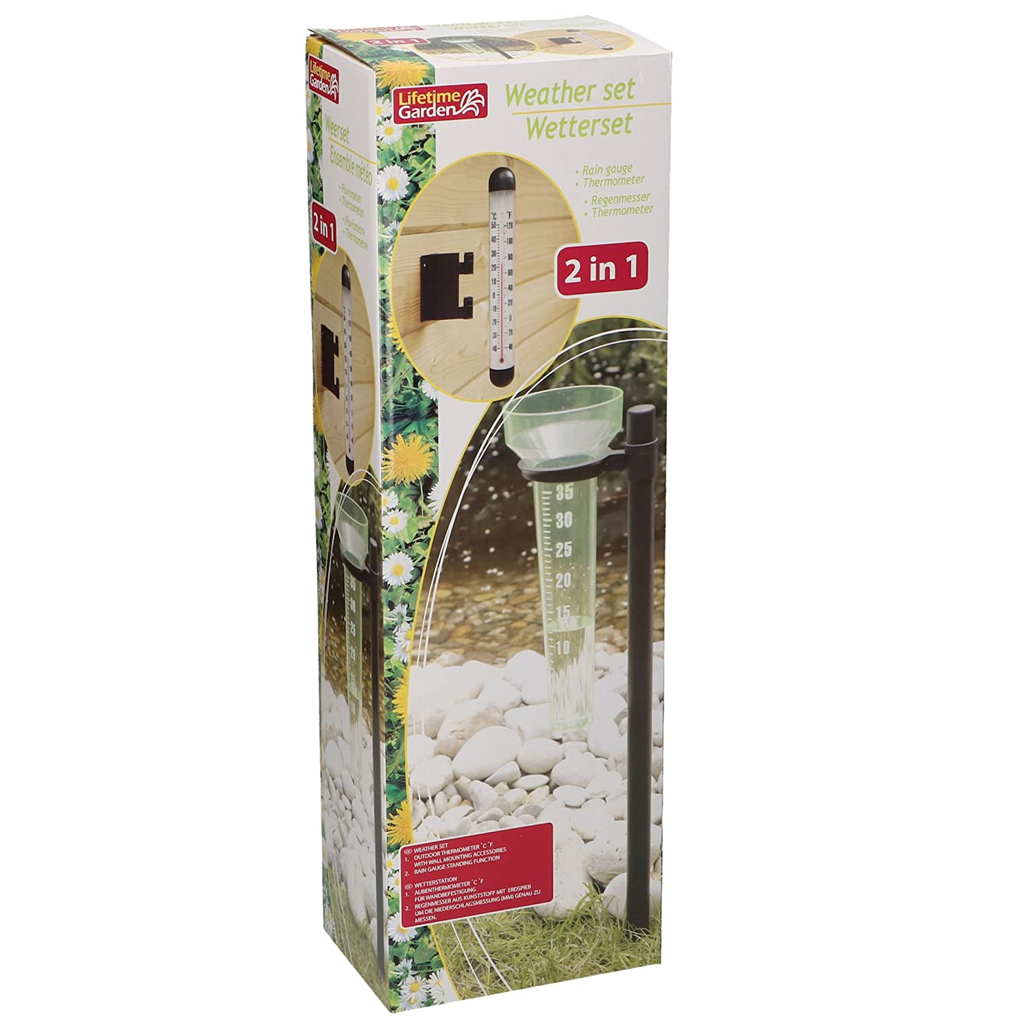 2in 1Thermometer Weather Set Weather Station Rain Gauge Outdoor Thermometer AiO-S - DE