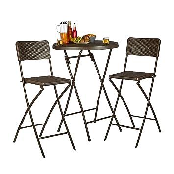 Brilliant Relaxdays Bastian Folding Bar Stools Rattan Look Backrest Lamtechconsult Wood Chair Design Ideas Lamtechconsultcom