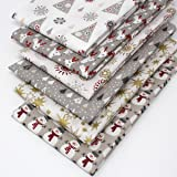 6 Fat Quarters Bundle - Jolly Christmas - Reindeer, Snowman, Christmas Trees, Stars and Snowflakes. 100% Cotton Fabric in Red, Gold and Greys. Ideal for festive Quilting and Craft Sewing (includes free patchwork pattern by Overdale Fabrics)