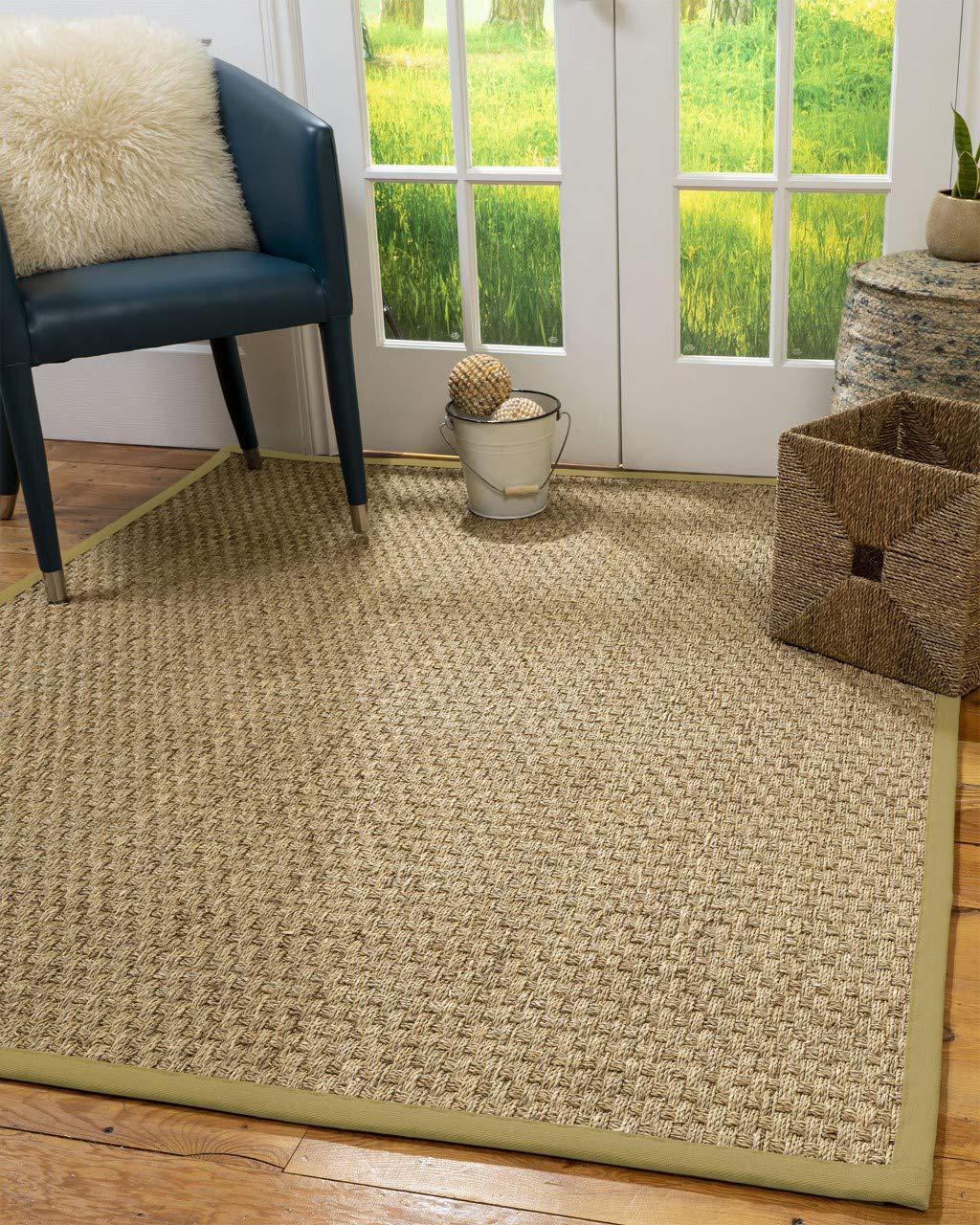 Natural Area Rugs 100 Natural Fiber Handmade Optimum, Natural Seagrass Rug, 4 x 6 Sage Border