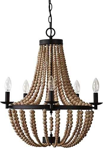Stone Beam Wood Bead Ceiling Flush Mount Chandelier Fixture With 6 Light Bulbs – 20 x 20 x 24 Inches, Matte Black Metal And Natural