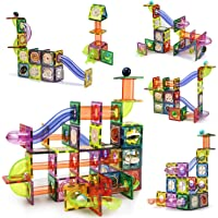 CUTE STONE 141 PCS Magnetic Tiles Magnetic Blocks Building Toys Marble Run STEM Toys Birthday Gift for Kids, Boys and…