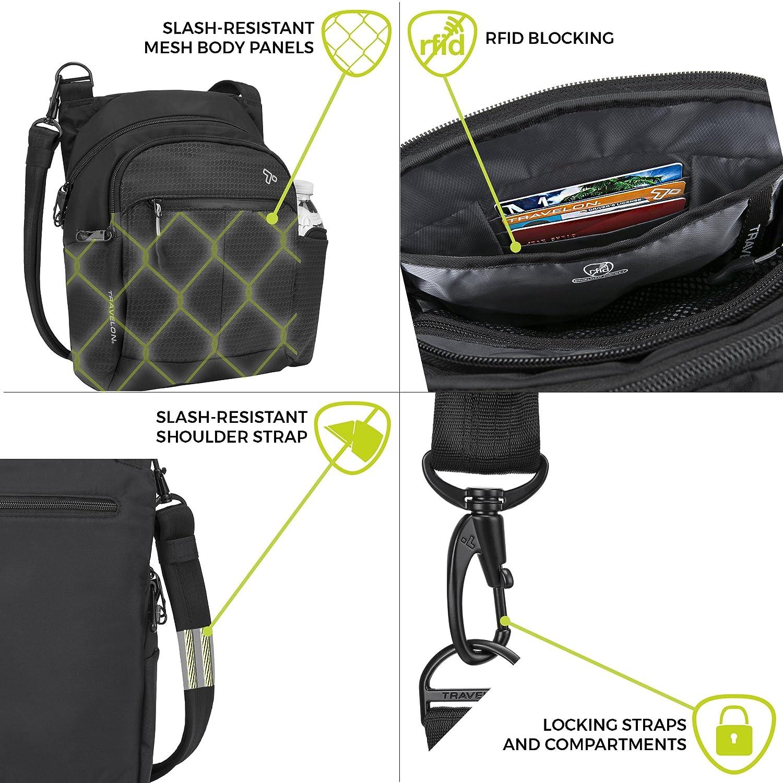 Travelon Anti-Theft Active Tour Messenger Bag, Black 43124 500