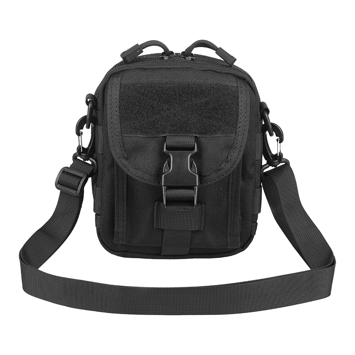 XTACER Multi-Purpose Shoulder Bag Tactical Pouch Modular MOLLE Small Utility EDC Waist Bag with Shoulder Strap (Black)