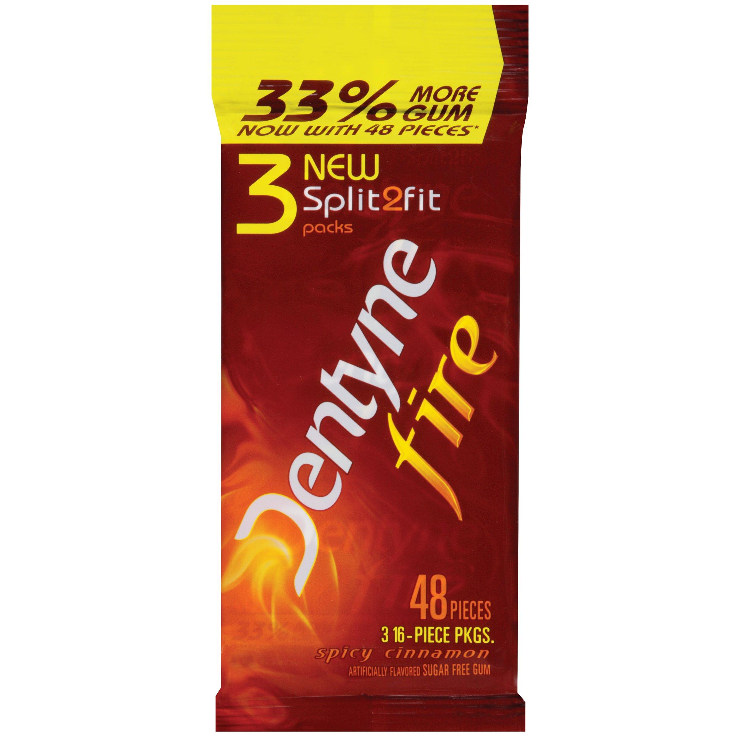 Dentyne Fire Sugar Free Gum, Spicy Cinnamon, 3 x 16 Piece Sleeve (Pack of 20)