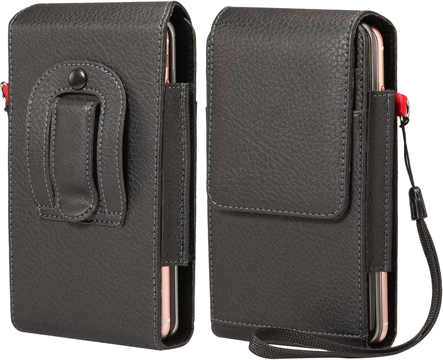 Vertical PU Leather Dual Belt Clip Holster Case Double Decker Phone Pouch w/Card Slots Belt Loop for iPhone 11 Pro Max, Samsung Galaxy Note 10 Plus, Note 9, S10 Plus, Huawei P30 Lite, Google Pixel 3a