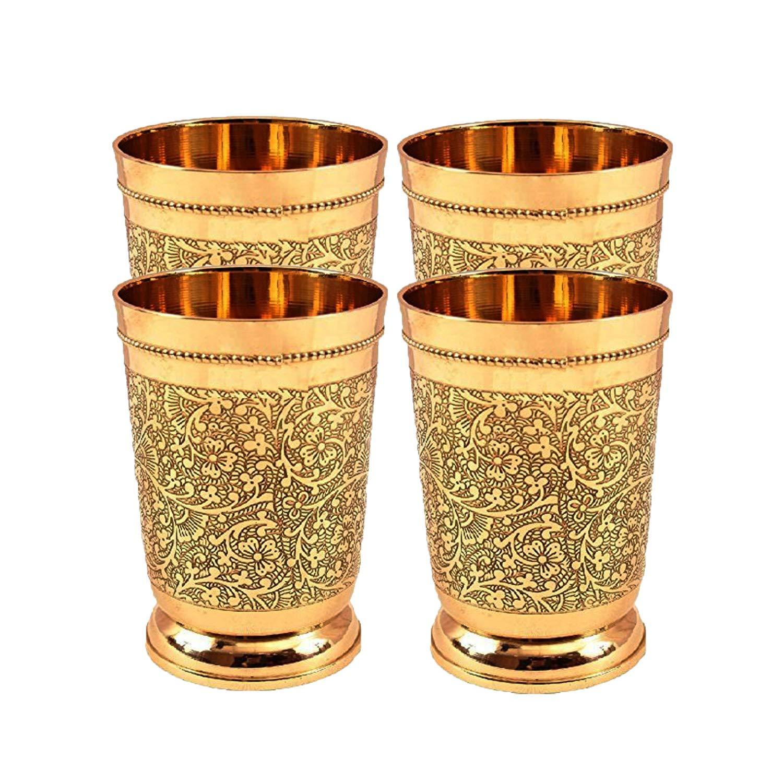 Set Of 4 Embossed Designer Brass Mint Julep Cup Goblet Tumbler Capacity 12 Ounce Each by PARIJAT HANDICRAFT (Image #1)