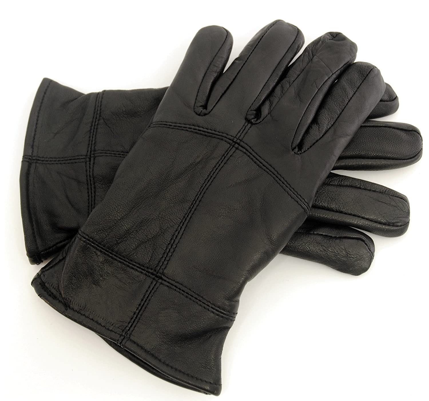 Leather mens gloves uk - Mens Thinsulate Thermal Black Sheepskin Leather Gloves Ski Warm Winter Snow Boys Gents Accessories Size Uk