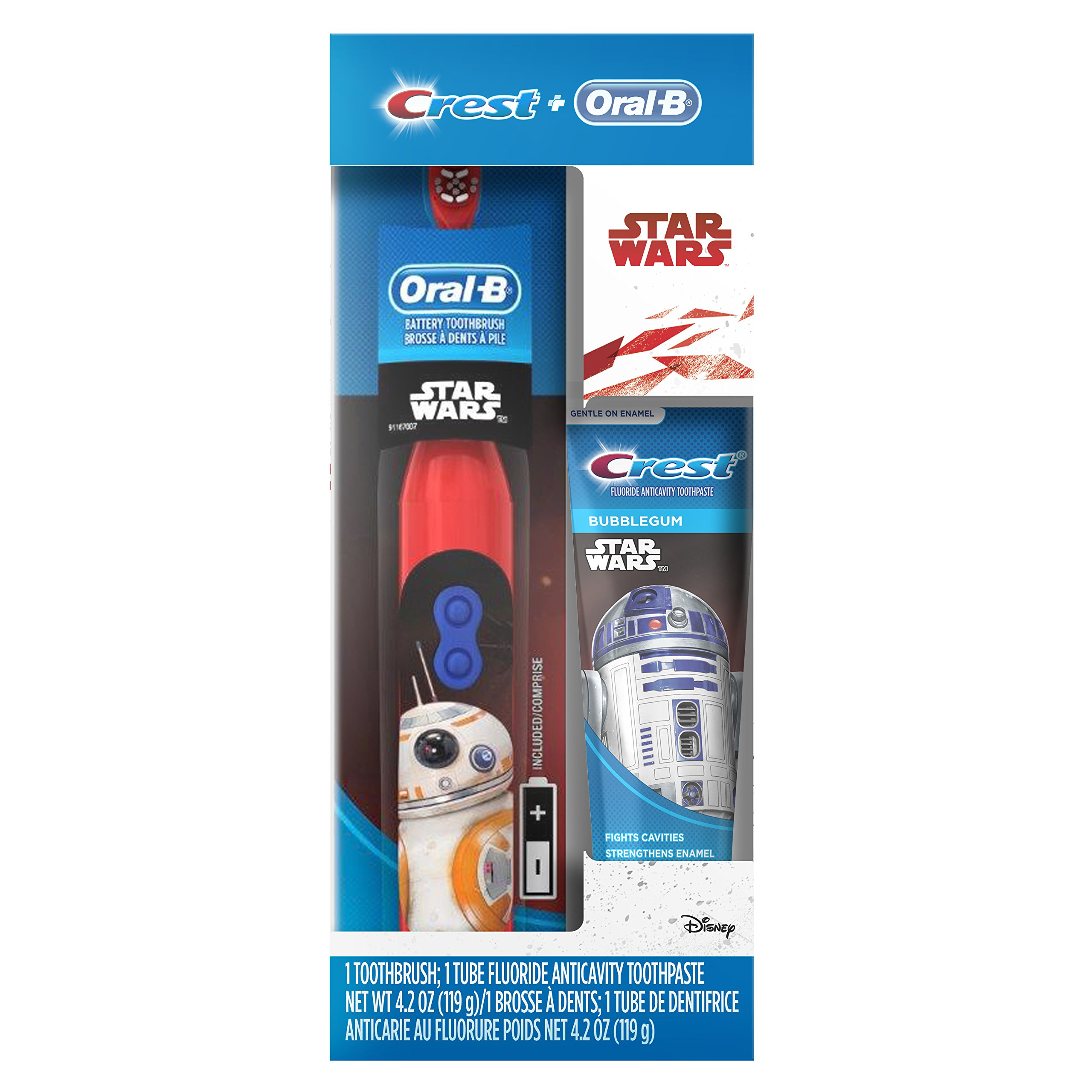 Oral-B and Crest Kid's Pack featuring Disney's STAR WARS, Kids Fluoride Anticavity Toothpaste and Battery Powered Toothbrush