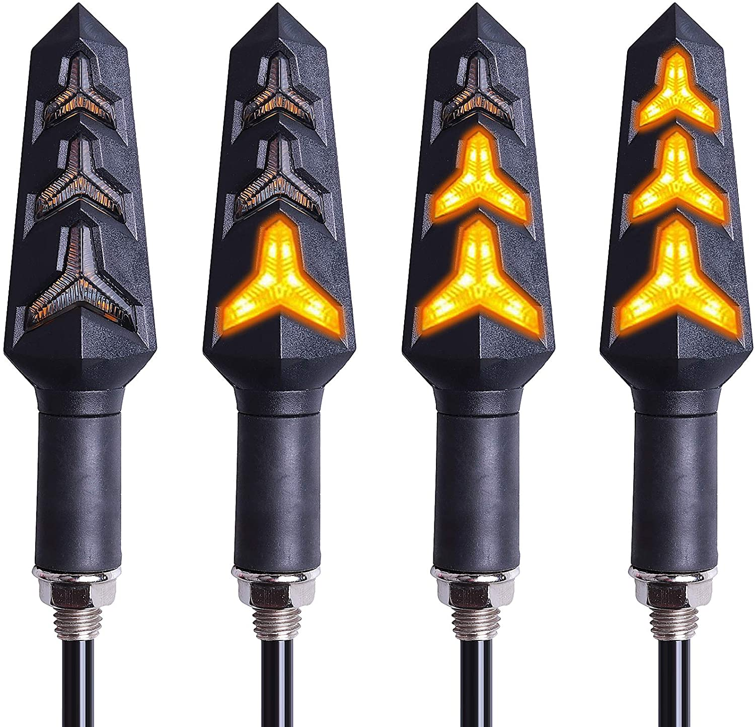 Kinstecks 4PCS Motorcycle Indicators Flowing Turn Signal Lights Motorbike Turning Indicators 12V 12 LEDs Bulbs for Motorcycle Motorbike Scooter Quad Cruiser Off Road-Y Shape