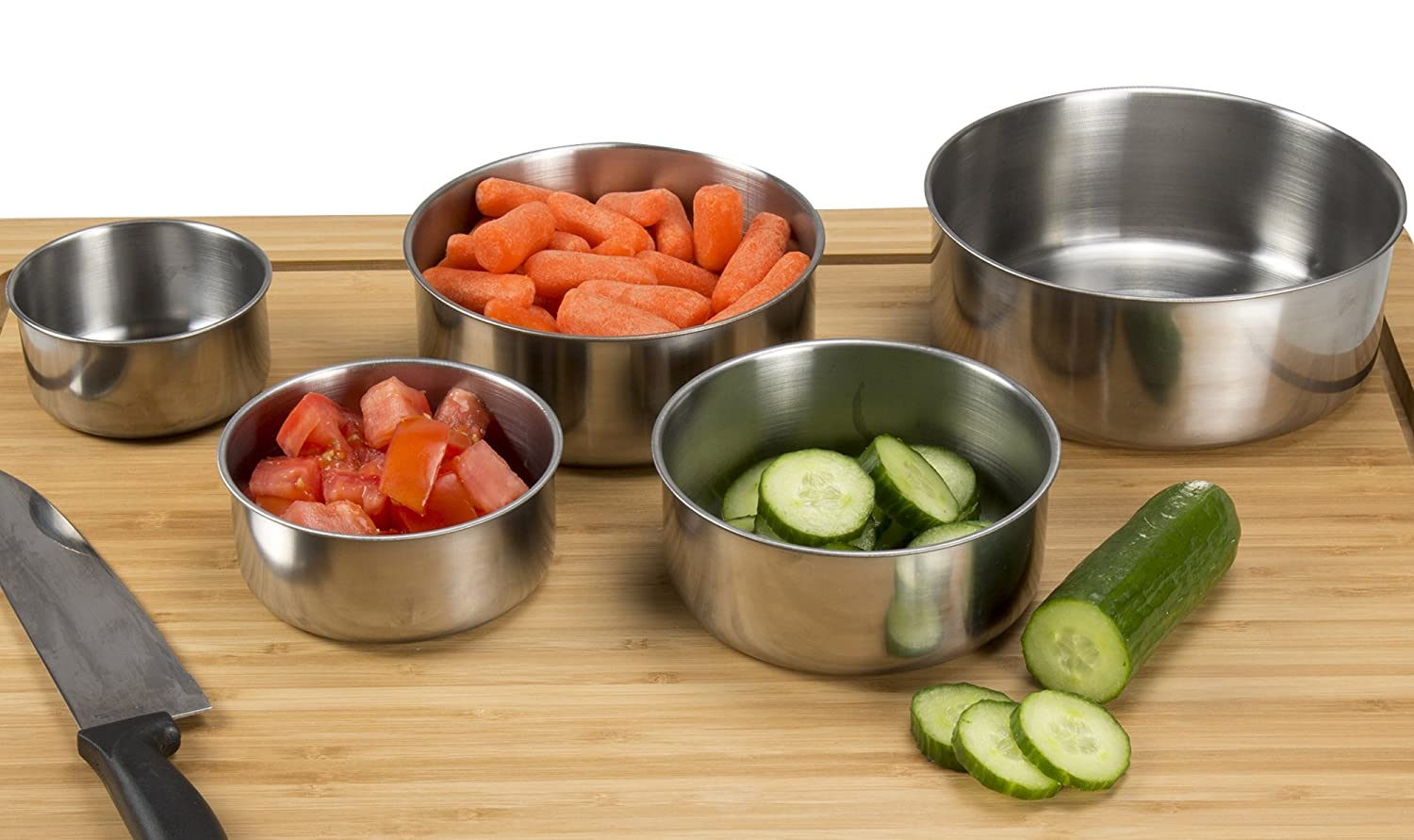 Chef Buddy 5 Piece Stainless Steel Bowl Set with Lids, Silver 82-08003