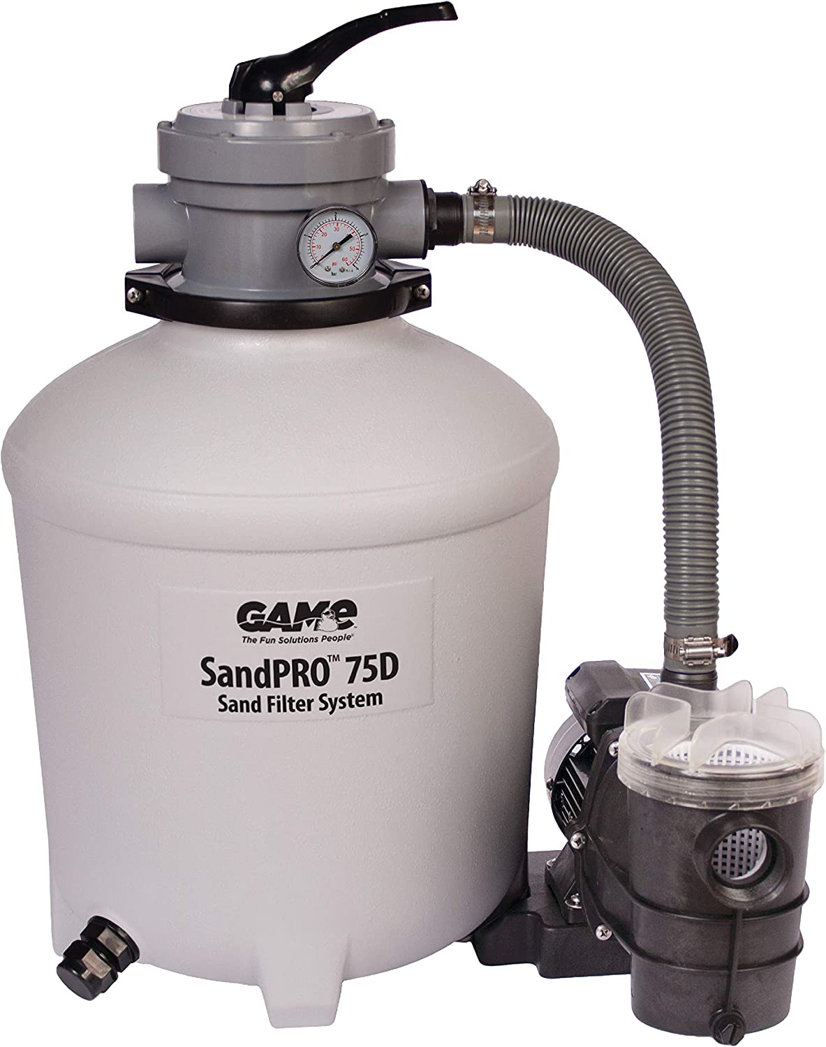 GAME SandPRO 75D Series, Complete 0.75HP Replacement Pool Sand Filter Unit, Designed for Intex & Bestway Pools, High-Performance Above-Ground Pool Vacuum, Energy Efficient, Easy to Operate