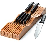 Bamboo In-Drawer Knife Block - Wood Drawer Knife Organizer - Holds 10-15 Knives (Not Included) - Keep Knife's Blades Store Wi