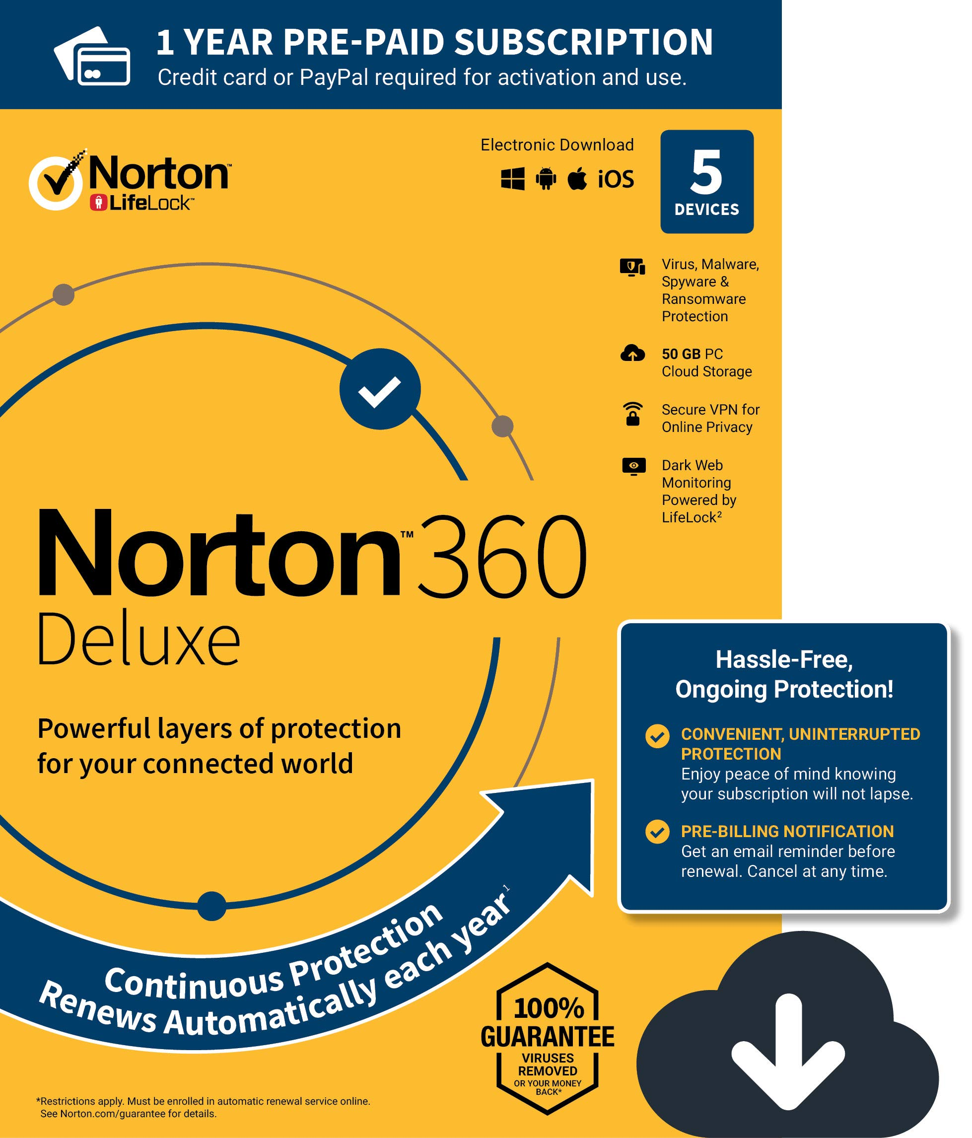 NEW Norton 360 Deluxe - Antivirus software for 5 Devices with Auto Renewal - Includes VPN, PC Cloud Backup & Dark Web Monitoring powered by LifeLock [PC/Mac/Mobile Download] by Symantec