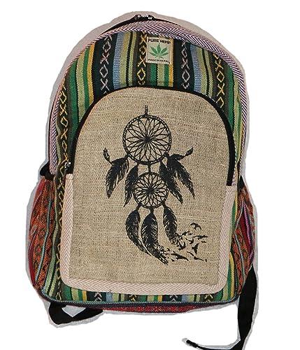 Desconocido Mochila de fibra de cáñamo/mochila de cáñamo/mochila de día/ mochila