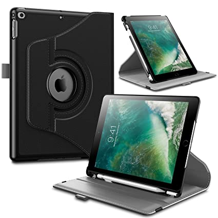 new concept f9185 51730 Infiland iPad 9.7 2018 Inch (6th Gen) Case with Pencil Holder, 360 Degree  Rotating Stand Protective Cover with Auto Sleep/Wake, Black