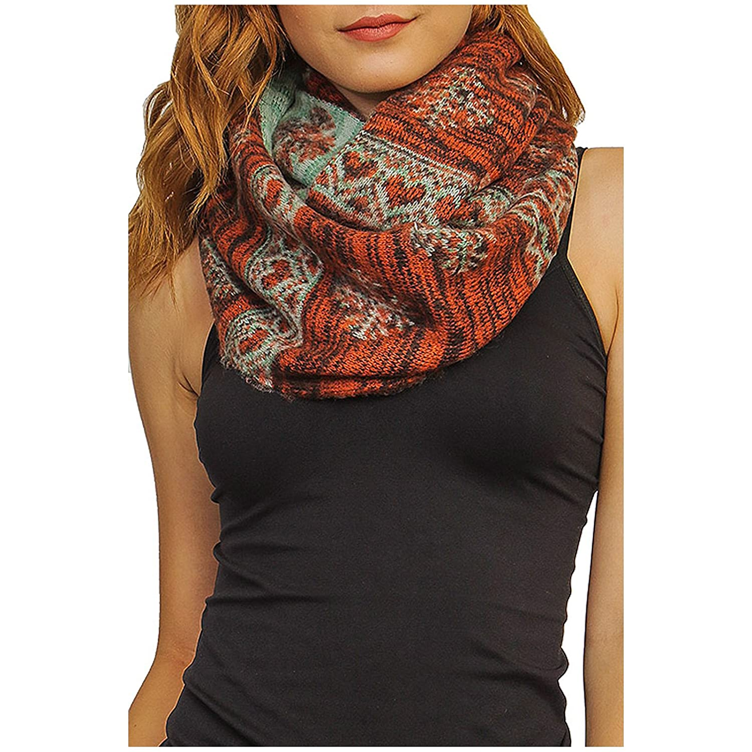 Women's Winter Warm Reversible Heart And Snowflake Cozy Infinity Scarf - WI786