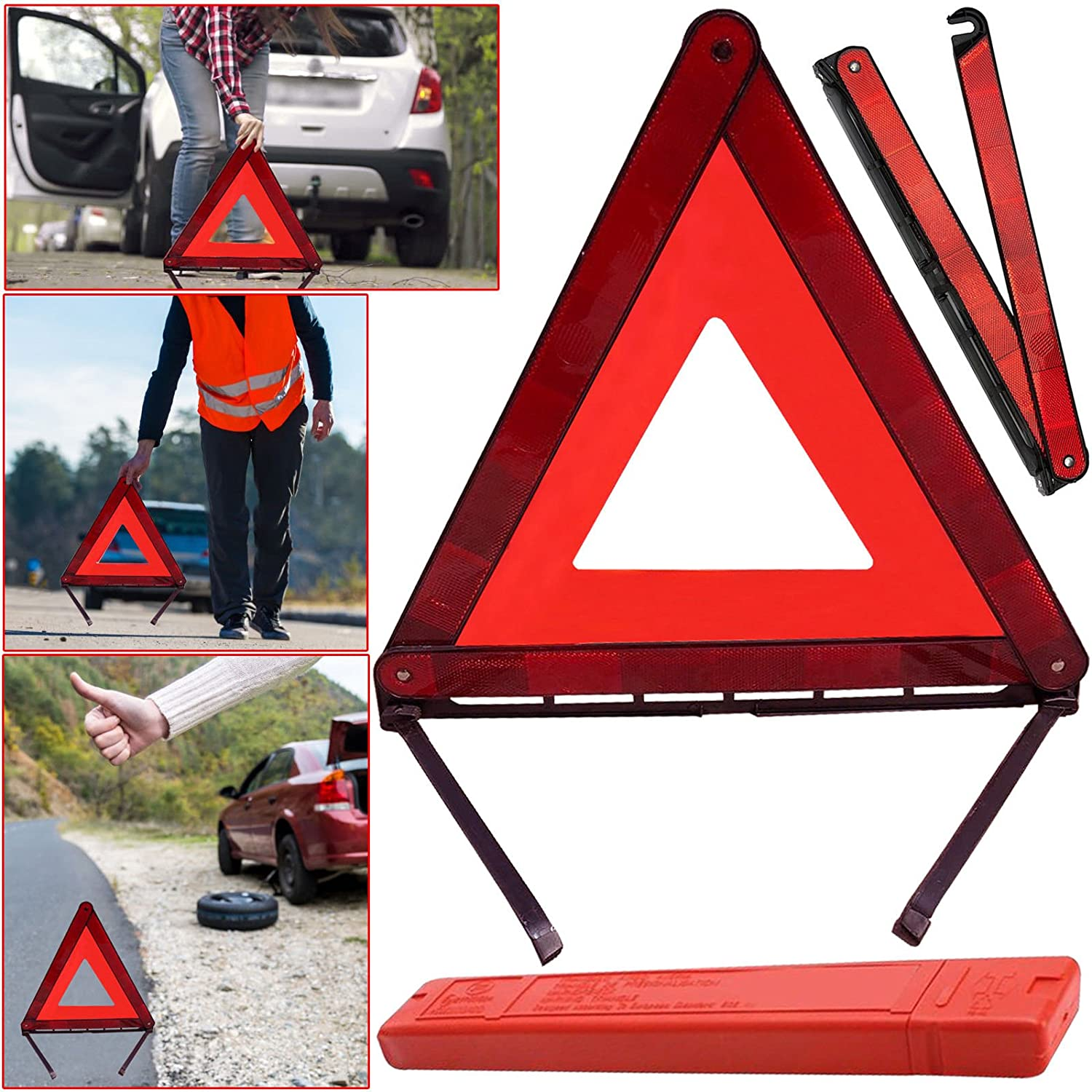 Safekom Sign pieghevole triangolo di sicurezza riflettente auto emergenza Hazard Breakdown UK/EU Safecom Hazard Sign designer