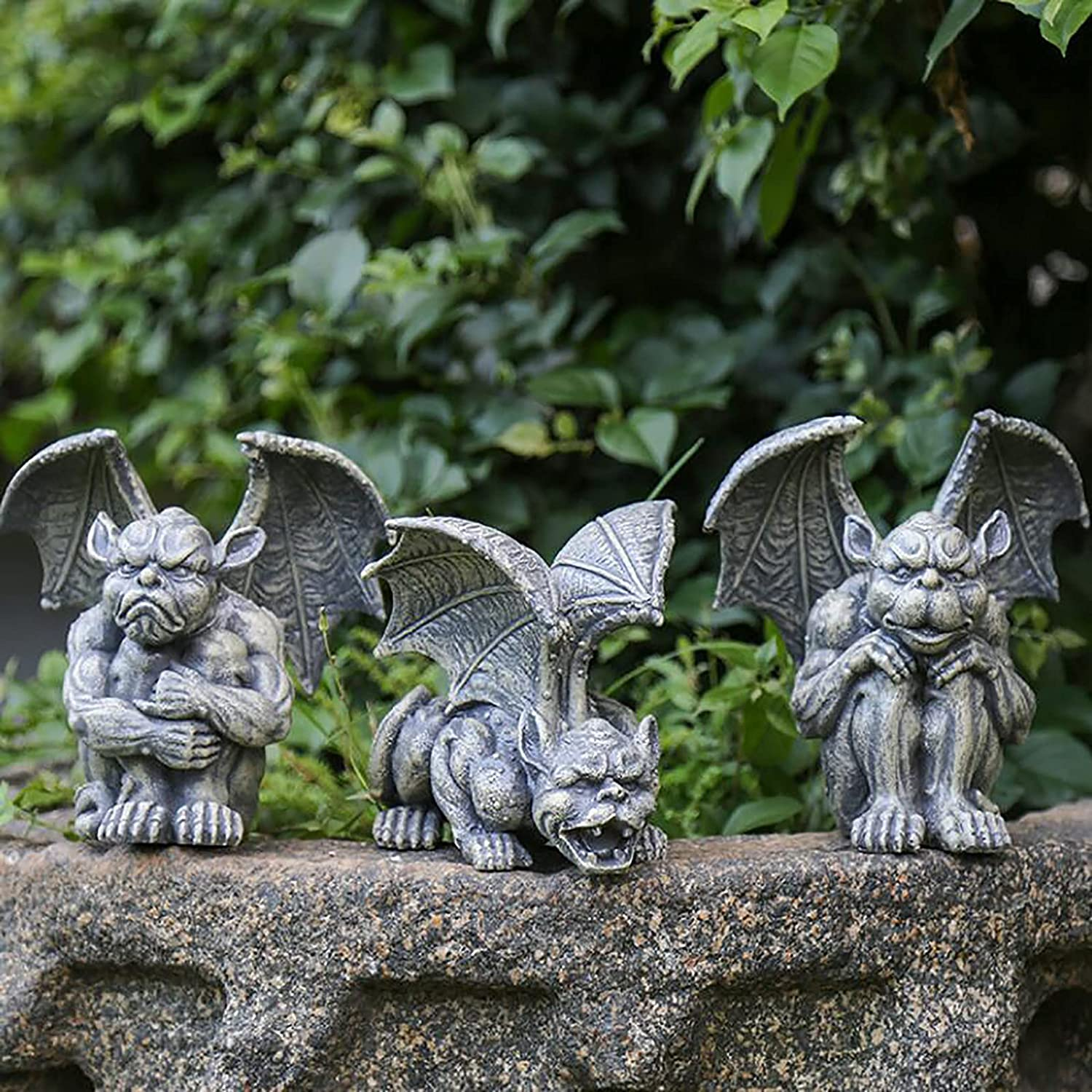 Nileco Monster Garden Statues,Resin Gargoyle Outdoor Statue Large Winged Dragon Sculptures Gothic Animals Statues,Yard Art Decor Backyard Porch Patio Lawn Balcony Statues-I One Size
