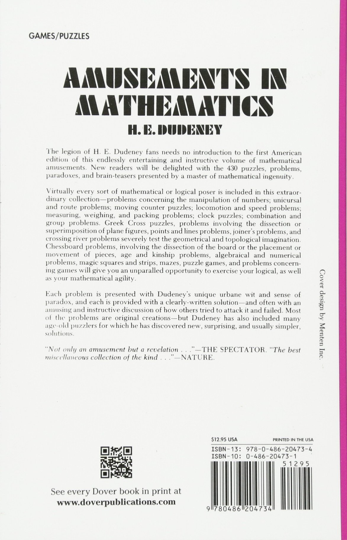 Amusements in Mathematics (Dover Recreational Math): Henry E. Dudeney:  9780486204734: Amazon.com: Books
