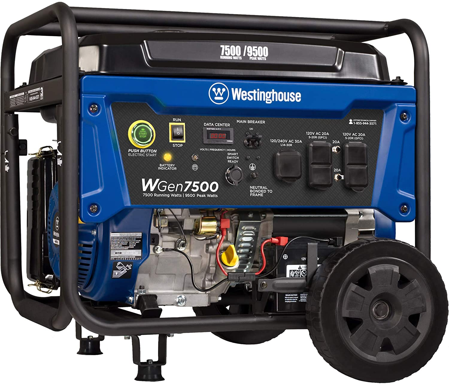 Westinghouse WGen7500 Portable Generator with Remote Electric Start - 7500 Rated Watts & 9500 Peak Watts - Gas Powered - CARB Compliant - Transfer Switch Ready : Garden & Outdoor