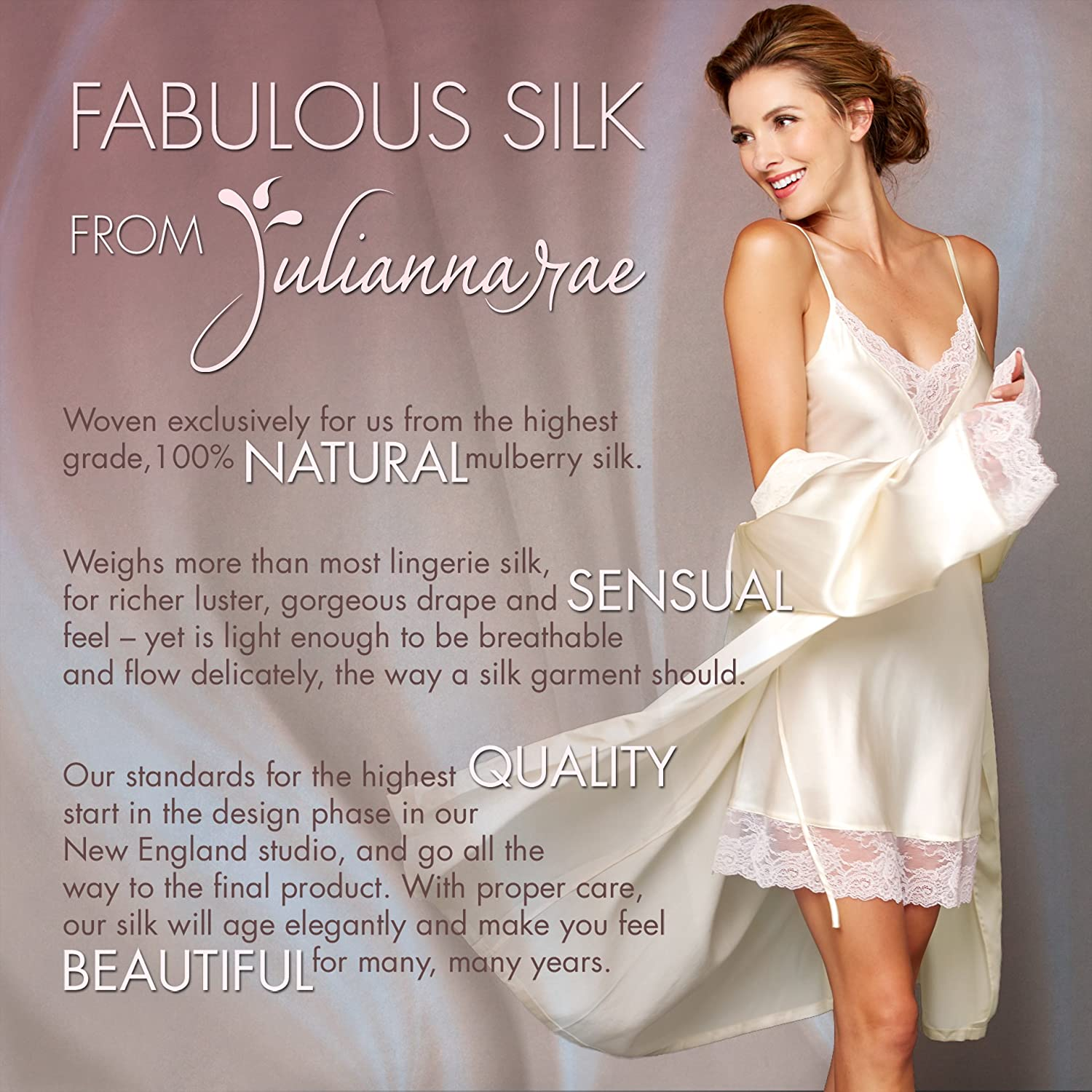 Wear In or Out Julianna Rae Womens 100/% Silk Camisole Top Tresor Lace Trim