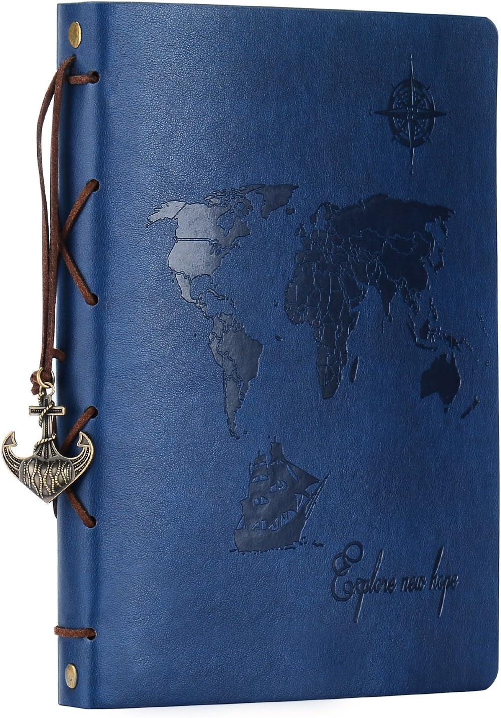 ZEEYUAN Álbum Fotos 22x27.3cm,Scrapbook Cuero Retro Viaje Mapa Mundial Libro Álbum Scrapbooking DIY Sketchbook Cumpleaños San Valentín Regalos Aniversario para Padre Novio