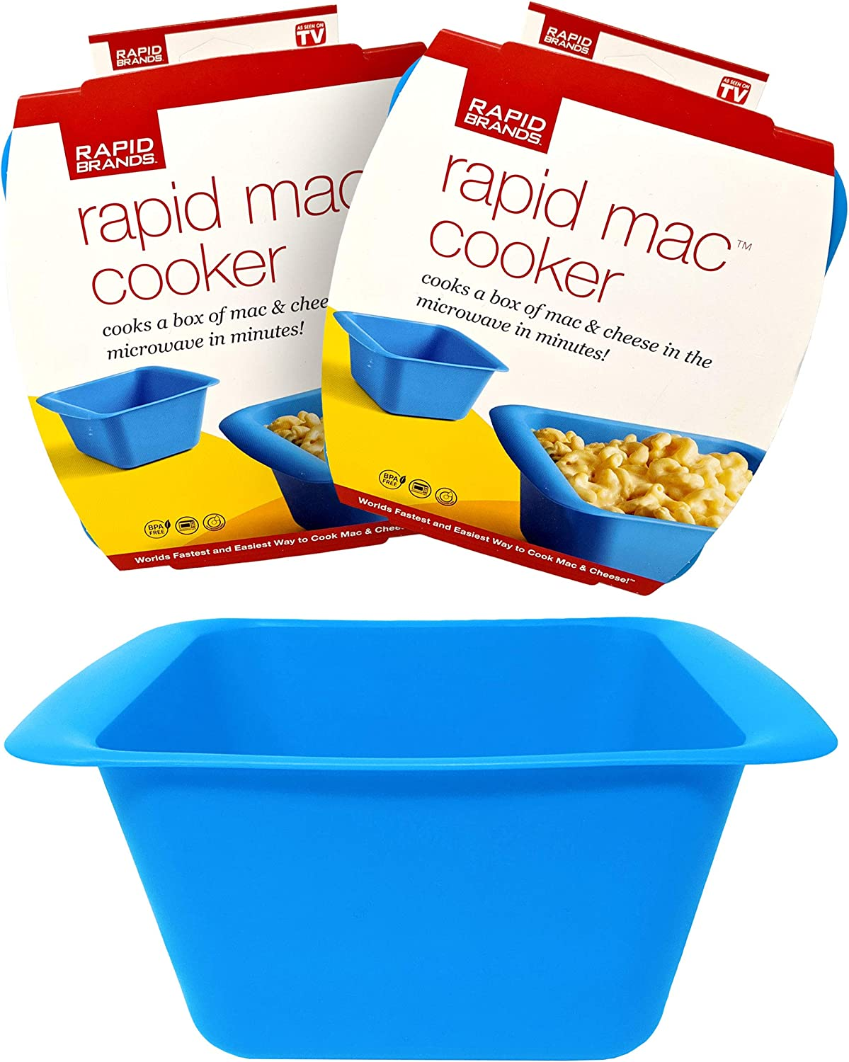 Rapid Mac Cooker | Microwave Macaroni & Cheese in 5 Minutes | Perfect for Dorm, Small Kitchen, or Office | Dishwasher-Safe, Microwaveable, & BPA-Free (Blue, 2 pack)