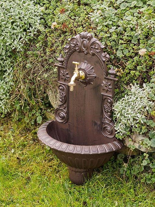 Fuente de Pared para jardín con Pila Estilo Antiguo - Aluminio Fundido: Amazon.es: Jardín
