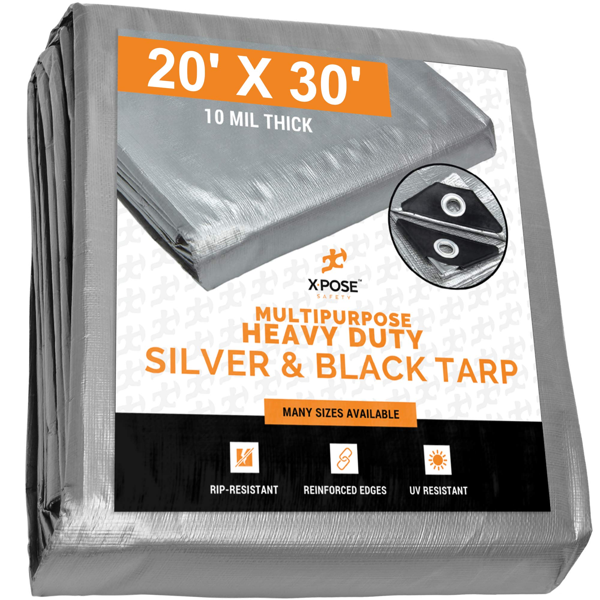 Heavy Duty Poly Tarp - 20' x 30' - 10 Mil Thick Waterproof, UV Blocking Protective Cover - Reversible Silver and Black - Laminated Coating - Rustproof Grommets - by Xpose Safety by Xpose Safety