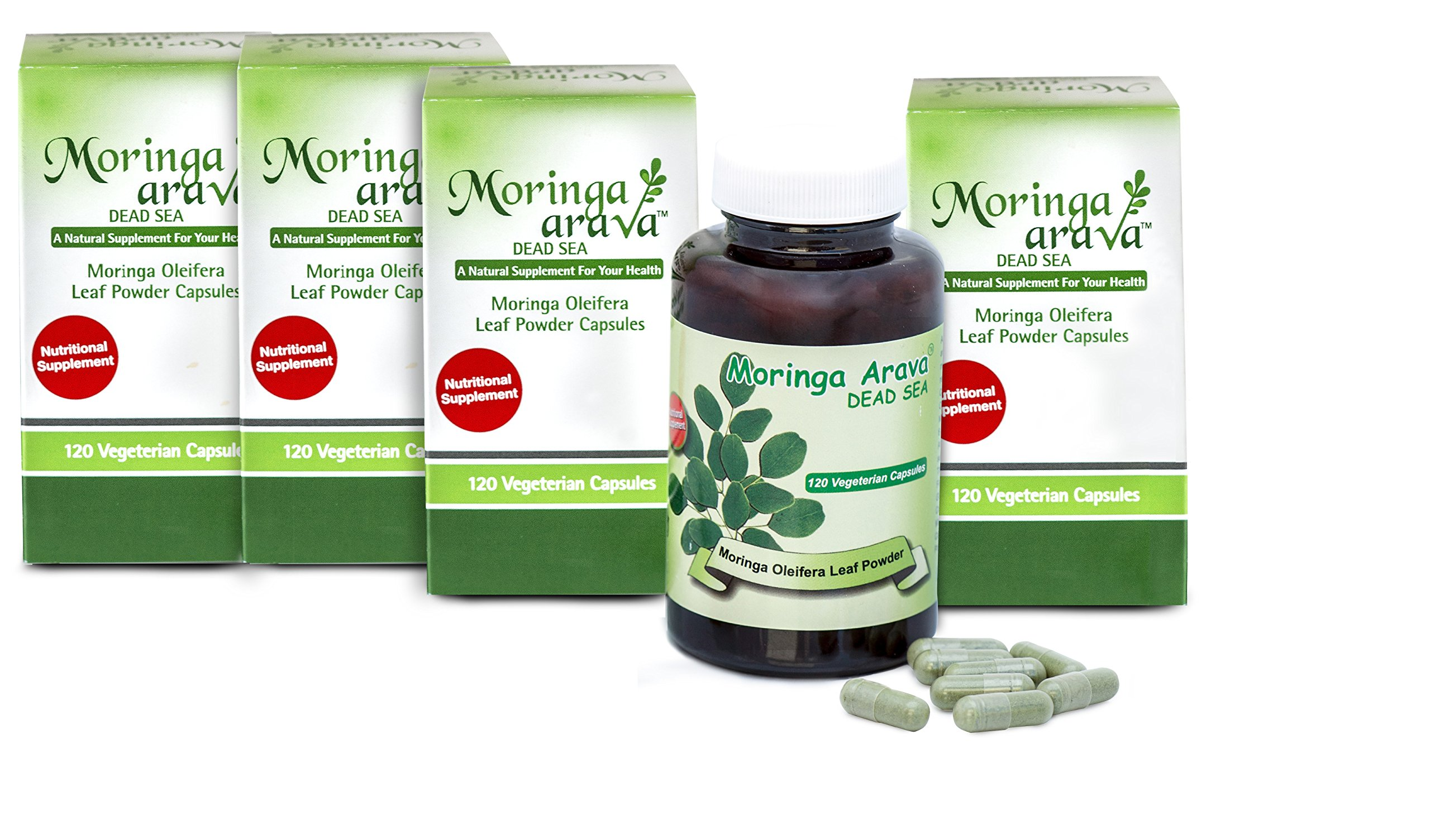 4 Top Moringa Capsules Multivitamin Superfood for Blood Pressure and Lower Cholesterol, Blood Sugar Solution, Thyroid Support, Lactation Supplement, 120 Count for Vegans 310 Mg