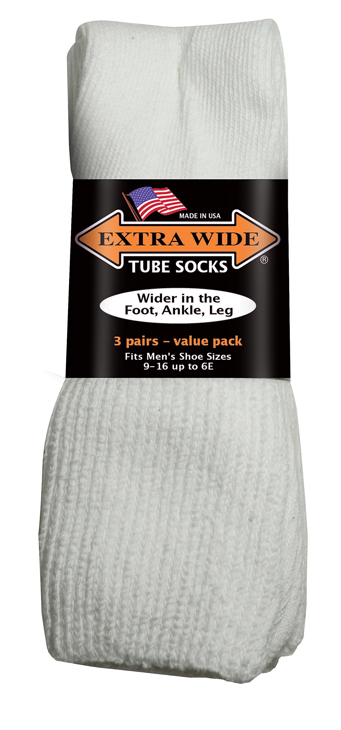 EXTRA-WIDE Tube Socks White Fit Shoes 9-15 Up to 6E 3-Pair Pack Diabetic For Shoe MADE IN USA by Extra-Wide Sock Company