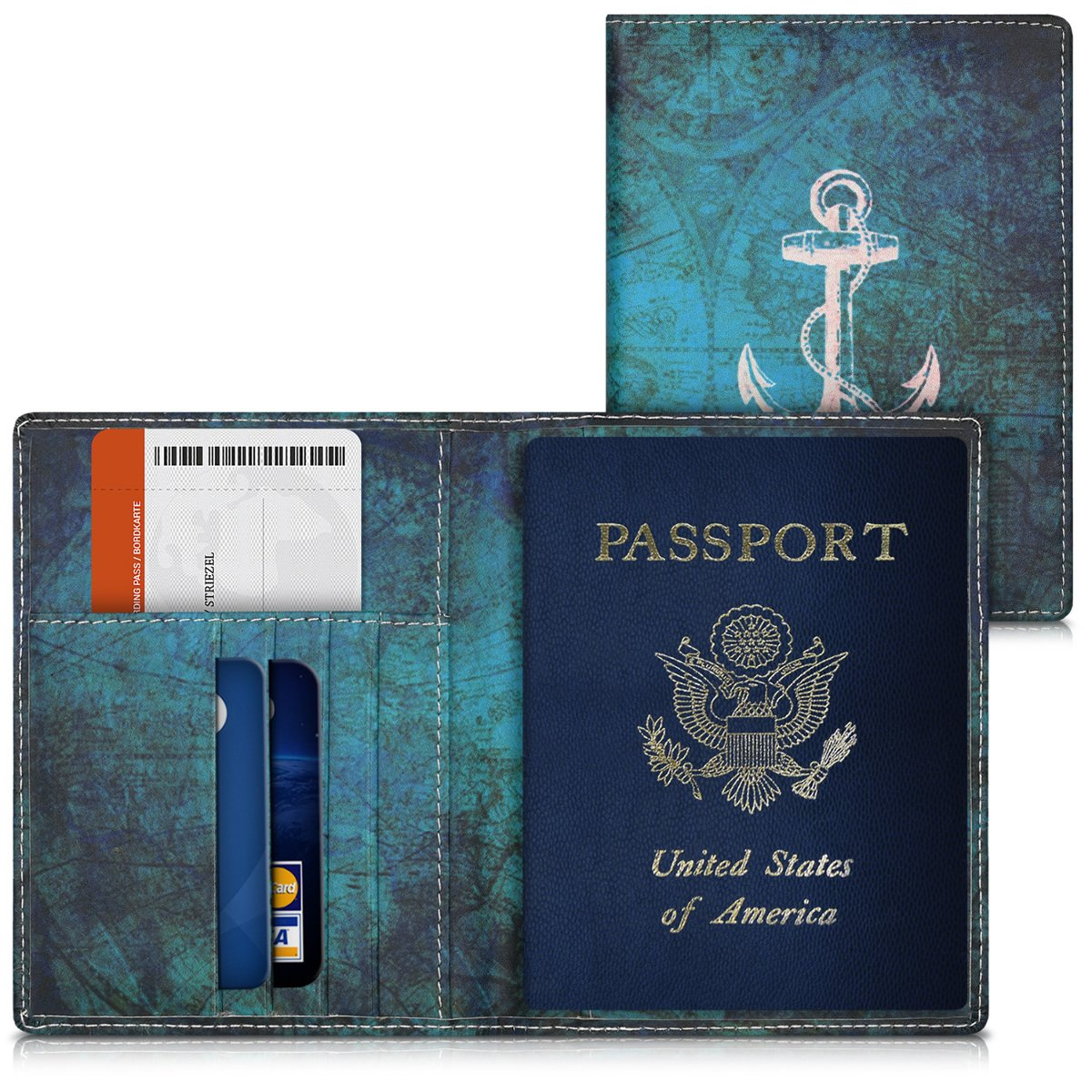 kwmobile Passport Holder with Card Slots - PU Leather Passport Cover Protective Case - Travel Wallet for Men & Women